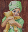 "My New Teddy by Carew, watercolor painting 2 5/8""x 2 3/8"""