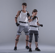Professional stunt performers Lucy Steel Romberg and Paul Darnell wearing the Perception Neuron full-body motion capture system.