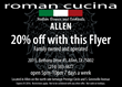 Roman Cucina Italian Restaurant in Allen, TX, Kicks Off 20% Discount Promotion With Help From The Christopher Oliver Agency