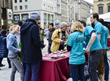 The volunteers at the Drug-Free World Foundation booth in the center of Munich May 2, 2015, encouraged people to come ask questions and get information on the effects of psychoactive drugs.