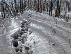 "Photo of Pastel Artist Linda Gross Brown's painting, ""Footsteps #15"""