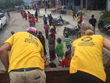 VM team members pass out food at one of four villages outside Kathmandu, Nepal.