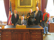 Iowa Governor Branstad with Dr. Heilman and Keep the Spirit of '45 Alive representatives