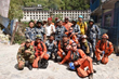 First responders relax after three grueling days of search and rescue after the 25 April earthquake.
