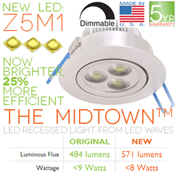 new midtown led recessed light brighter more efficient with z5m1