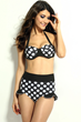 polka dot sexy halter two piece bikini swimsuit