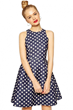polka dot print sleeveless waisted dress