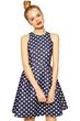 polka dot print sleeveless waisted dress