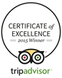 2015 Trip Advisor Certificate of Excellence Recipient