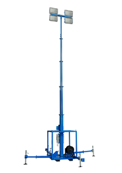 Telescoping Light Mast with Manual Crank Winch Equipped with Four 400 Watt LED Lights