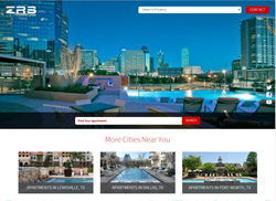 View of homepage for zrs apartments featuring photographic tour of apartment property.