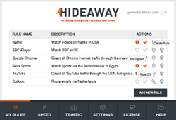 Rules screen of HideAway showing some active rules for websites and applications