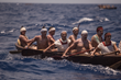 Maria Beatrix del Perpetuo Socorro Solis Ramirez rows with her teammates during the Sacred Mayan Journey. She is 64 years old and the oldest canoeist that participated in the row.