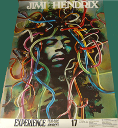 "Gunther Kieser created the famous ""medusa"" image of Hendrix for this concert poster tour blank."