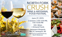 NY Wine Events inaugural North Fork wine tasting event, the North Fork Crush Wine & Artisanal Food Fest takes place at Jamesport Vineyards in Jamesport, NY on 6/27/15.
