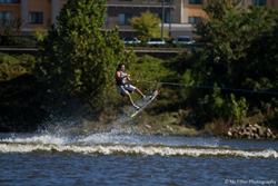 A photo of a wakeboarder