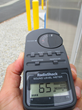 Sound meter reading outside enclosure
