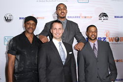 Host Ryan Hollins (Sacramento Kings), Lawrence Hilton- Jacobs (Actor), Nicholas Damuth and Kyle Cox (Ballerz World Co- Founders) pose for a picture on the red carpet at the soft launch event for Ballerz World.