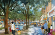 Rendered view of Miracle Mile new streetscape design