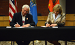 Cherokee Nation Principal Chief Bill John Baker and Oklahoma Gov. Mary Fallin sign a hunting and fishing compact that expands the hunting and fishing rights of all Cherokees living in the state.