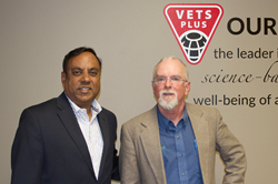 Raj Lall (President & CEO of Vets Plus) and John Maday (Editor of Bovine Veterinarian & Managing Editor of Drovers / CattleNetwork)