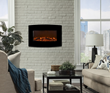 Touchstone's Yardley Electric Fireplace offers five flame settings, 2 heat settings and a no heat setting.