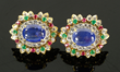 18K yellow gold earrings, with cabochon sapphires, diamonds, rubies, and emeralds