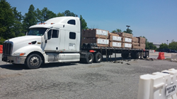 Aacer delivers wood to Philly Floor's temporary warehouse