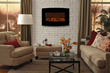 The Touchstone 36-inch Yardley Electric Fireplace with a curved display features natural looking LED flames.