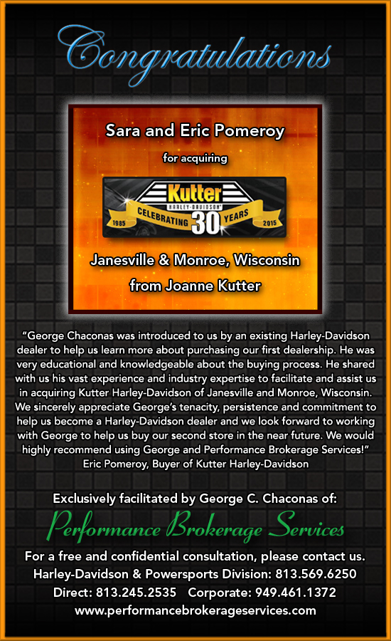 Harley Davidson Dealers In Wisconsin >> After 30 Years, Joanne Kutter Sells Kutter Harley-Davidson in Janesville, Wisconsin with Help ...