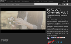 Pixel Film Studios FCPX LUT Cinematic Volume 2 Plugin.