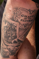 Groom-Celebrates-Wedding-Vows-Tattoo-Chapel-of-the-Flowers