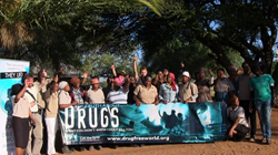 Tribal leaders in Manshane, South Africa show their enthusiastic support for the Truth About Drugs initiative.