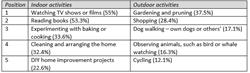 Indoor vs. Outdoor Pursuits