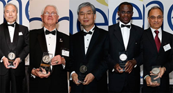 Picture of 2015 International Honor Awards Recipients. Left to right: Yoshiharu Inaba; James Healy; Yung Shin; Elijah Kannatey-Asibu Jr.; and Shiv Kapoor. (Not pictured: Fengzhou Fang.)