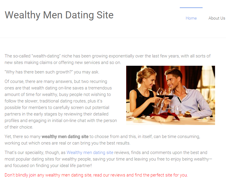Wealthy dating service