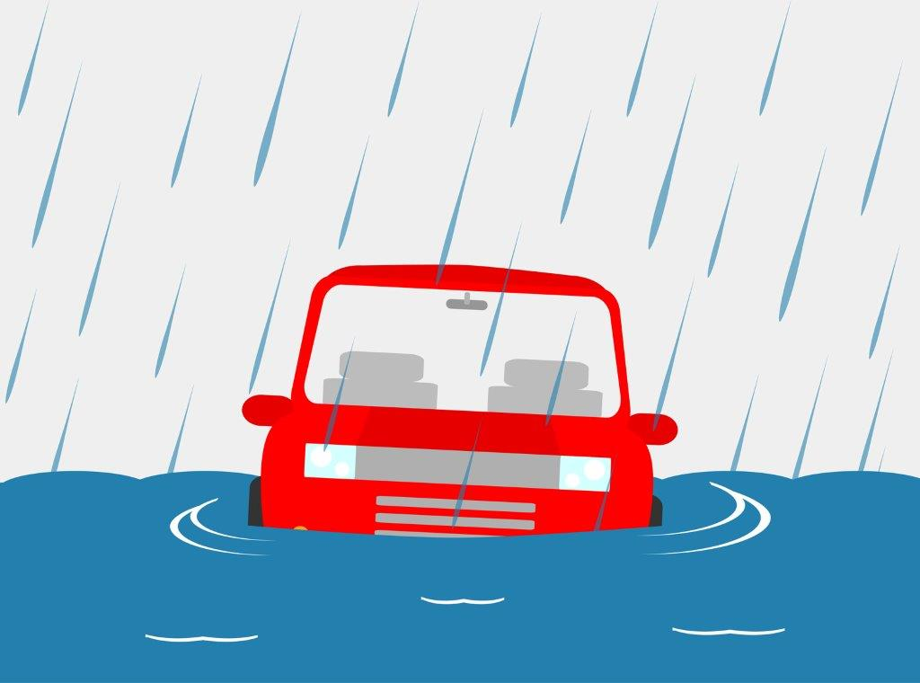 Does Your Car Insurance Cover Flood Damage? A red car submerged in