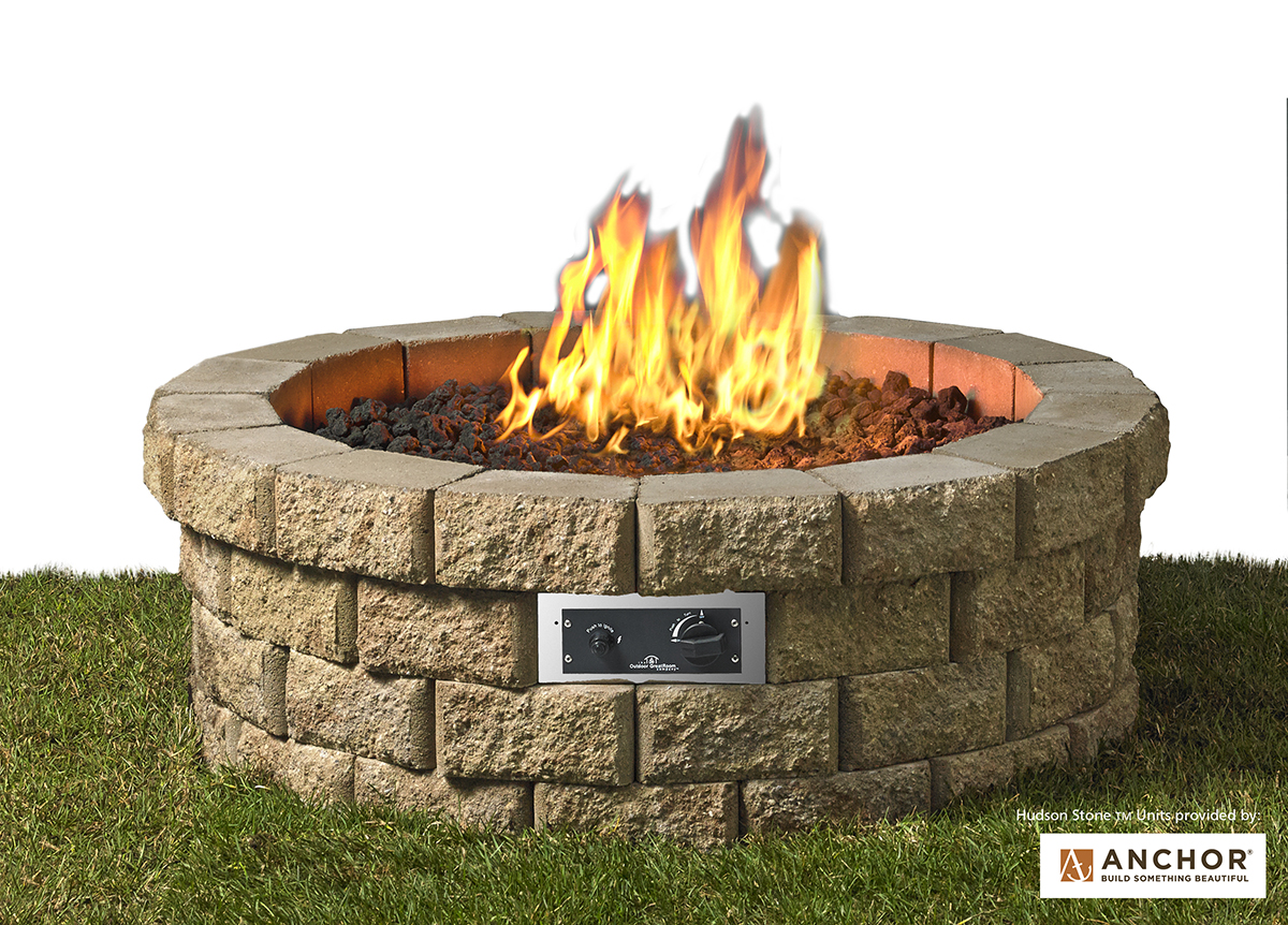 New Product Hudson Stone Gas Fire Pit Kit