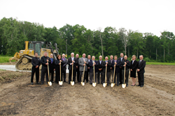 The groundbreaking was attended by representatives of Wood-Mizer, the City of Batesville, American Structurepoint, and Maxwell Construction.
