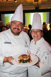 Young and Chesney with their winning dish of Pan Smoked Duck Breast with German Potato Spaetzle Salad and Wilted Swiss Chard.