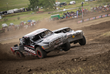 Trucks battle during the TORC (The Off-Road Championship) Series races at the Sturgis Buffalo Chip PowerSports Complex.