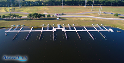One of a kind 10 lane floating dock installed at Benderson Park by AccuDock