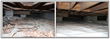 BEFORE crawl space encapsulation, moisture provides a playground for termites as well as mold and mildew that cause joist decay and floor buckling.  AFTER encapsulation the absence of moisture can hel