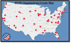 A map showing the locations of where DVNF's Organizational Grants have gone over the past few years.