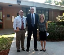 Dr. Marzano with Area Superintendent Ian Salzman and Calusa Elementary Principal Jamie Wyatt.