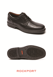 Rockport DresSport Luxe Apron Toe in Black boasts the brand's partnership with Vibram providing slip resistance and durable grip