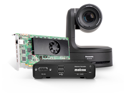 Panasonic AW-HE130 PTZ cameras feed IP streams to Matrox Maevex decoders and