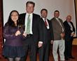 TTUHSC President Tedd L. Mitchell, M.D., presents SOP research with award.