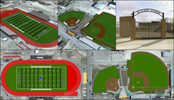 Football, Baseball, and Softball Synthetic Turf Field Renderings