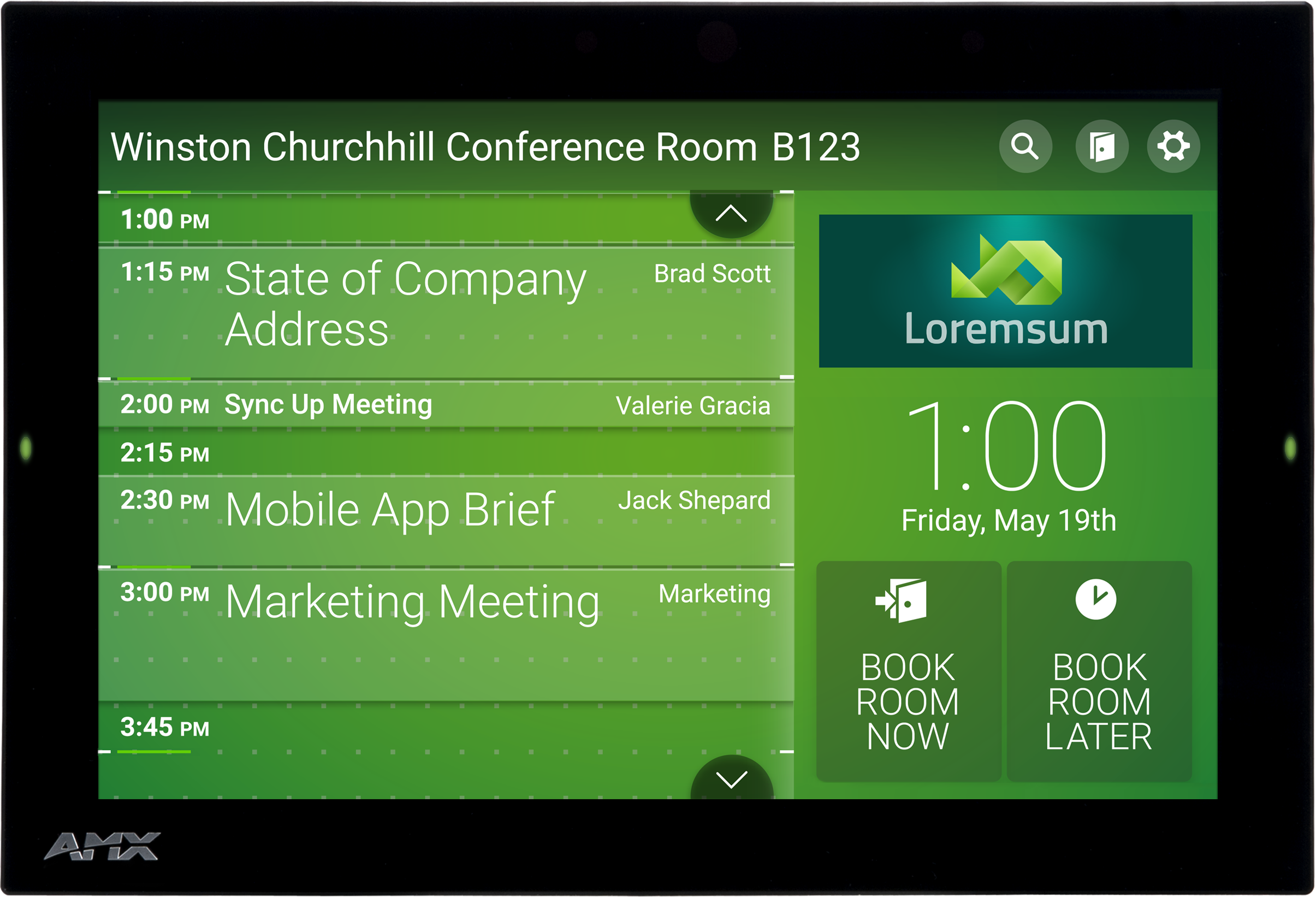 Amx Introduces World S Easiest Room Scheduling Panel To